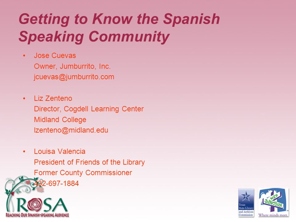 Getting to Know the Spanish Speaking Community