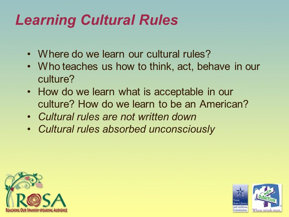 Learning Cultural Rules