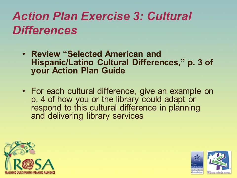 Action Plan Exercise 3: Cultural Differences