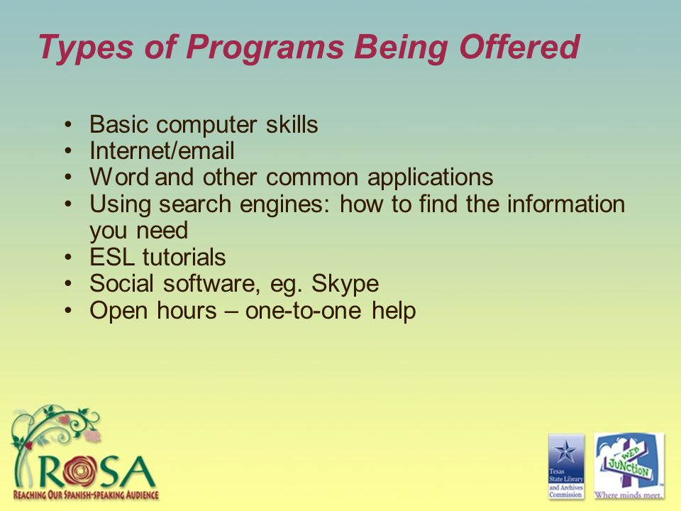 Types of Programs Being Offered