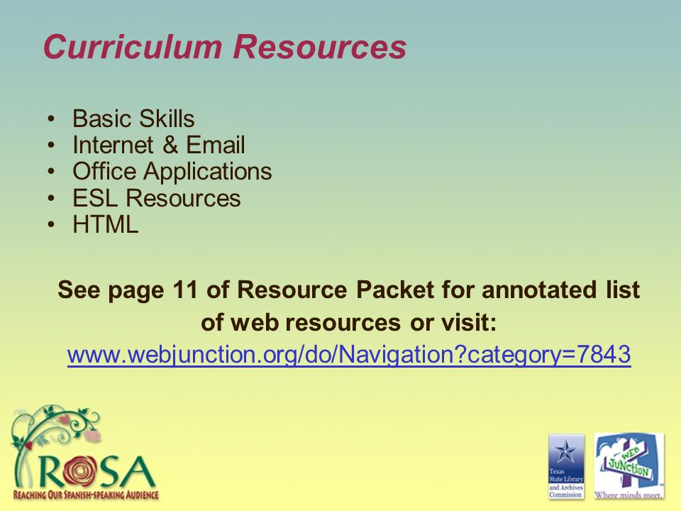 Curriculum Resources Basic Skills Internet & Email Office Applications