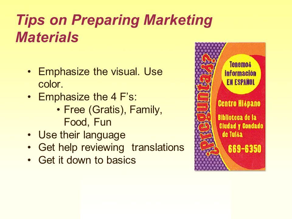 Tips on Preparing Marketing Materials