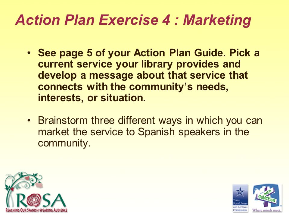 Action Plan Exercise 4 : Marketing