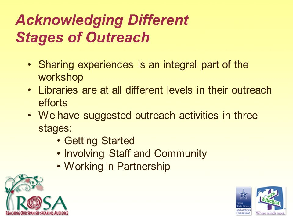 Acknowledging Different Stages of Outreach