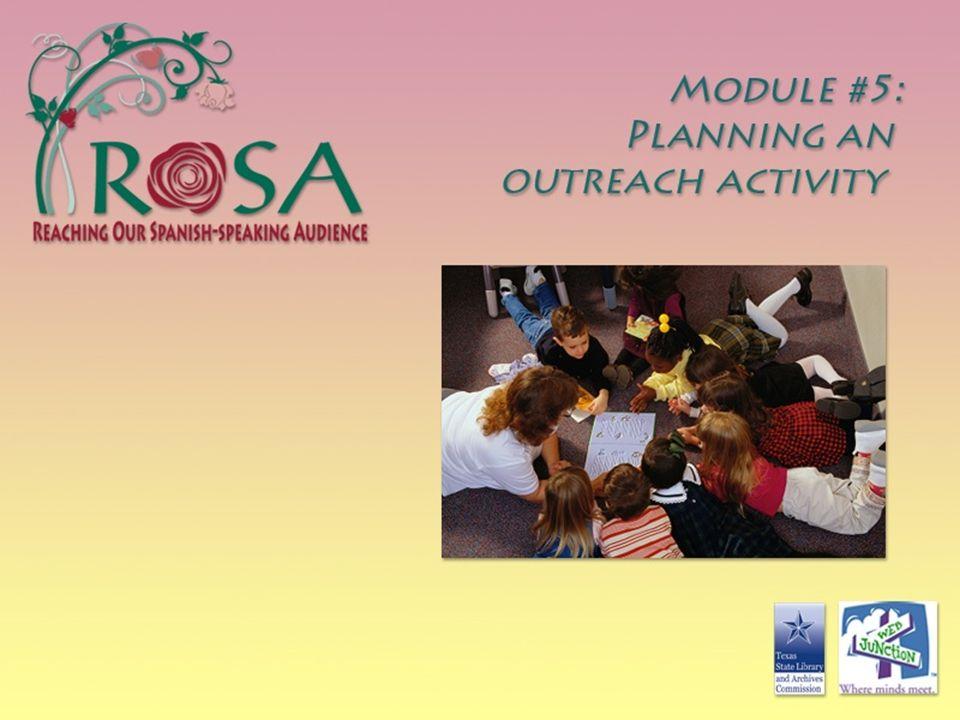 MODULE 5: PLANNING AN OUTREACH ACTIVITY