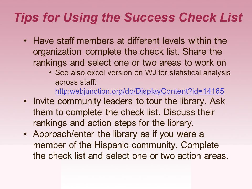 Tips for Using the Success Check List