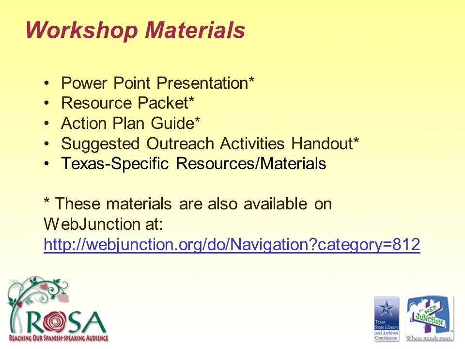 Workshop Materials Power Point Presentation* Resource Packet*
