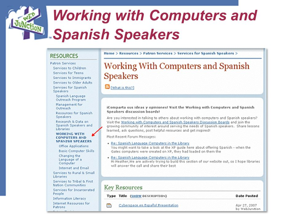 Working with Computers and Spanish Speakers