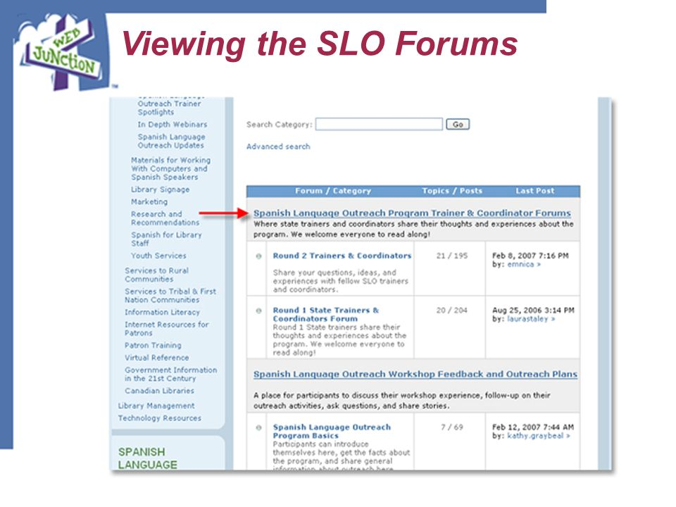 Viewing the SLO Forums This link will take you to the main page for all SLO Forums. Forums are organized into three forums: