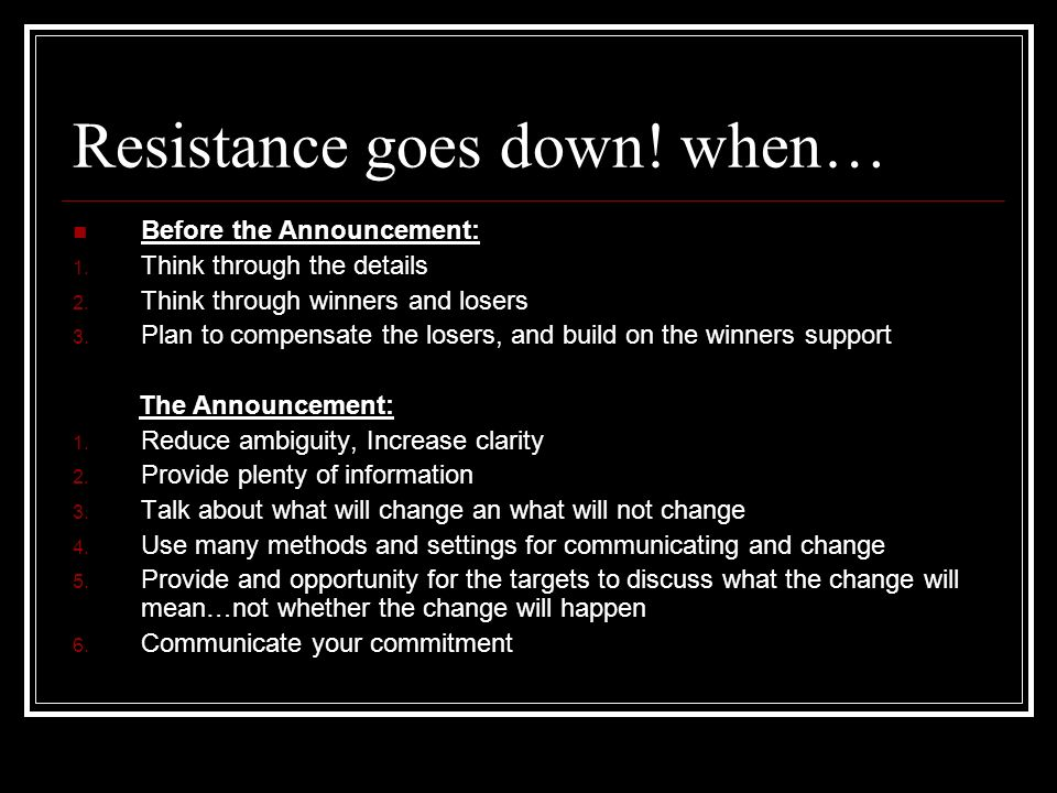 Resistance goes down! when…