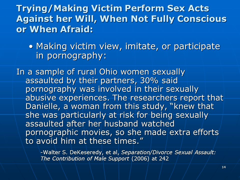 Making victim view, imitate, or participate in pornography:
