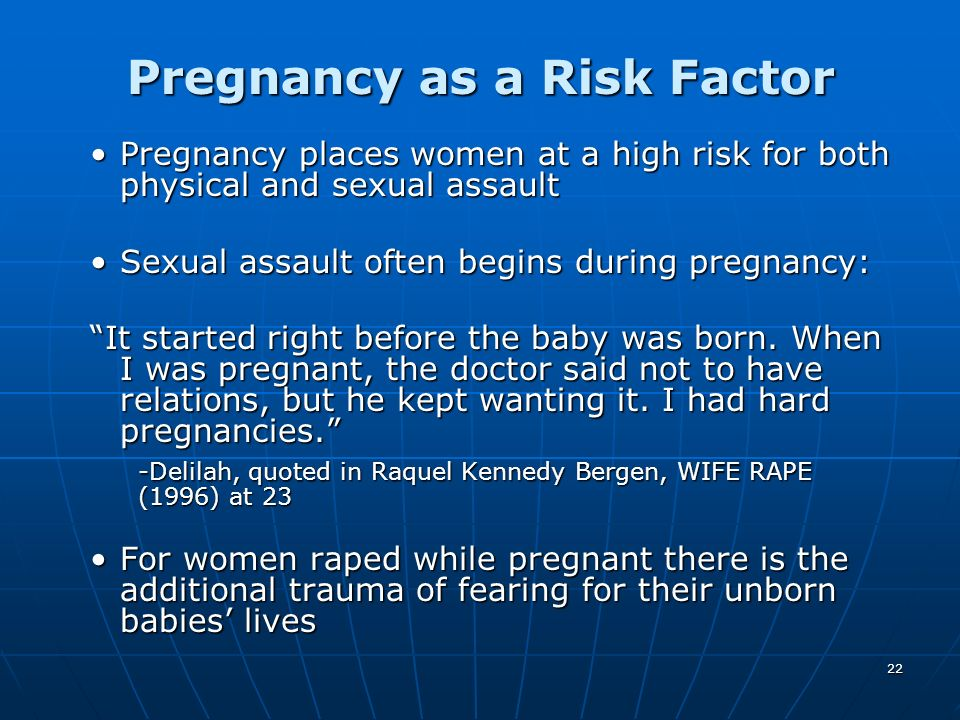 Pregnancy as a Risk Factor