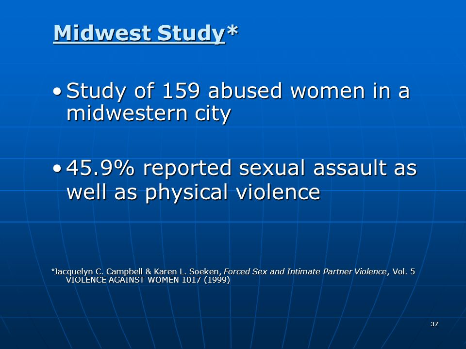 Study of 159 abused women in a midwestern city