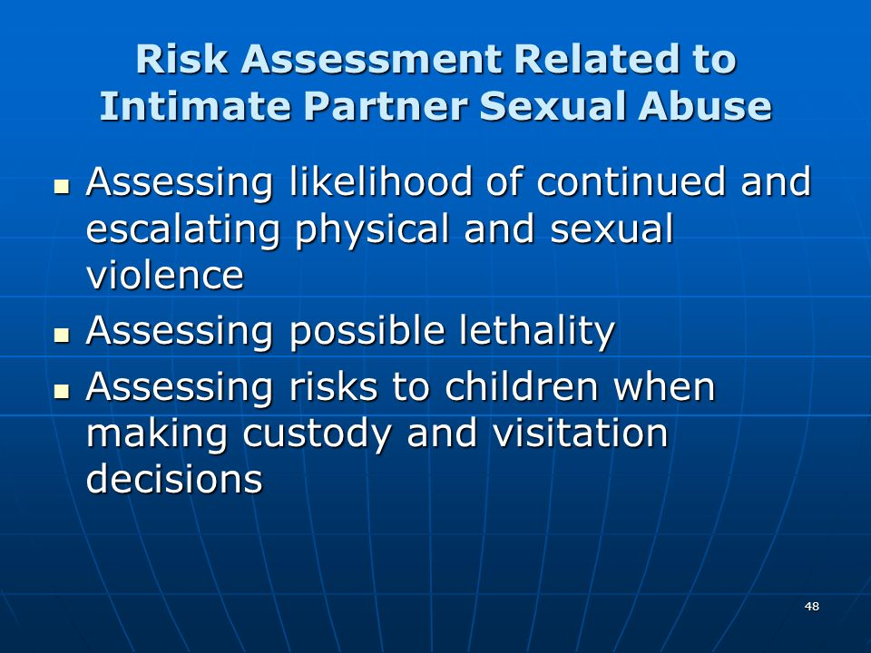 Risk Assessment Related to Intimate Partner Sexual Abuse