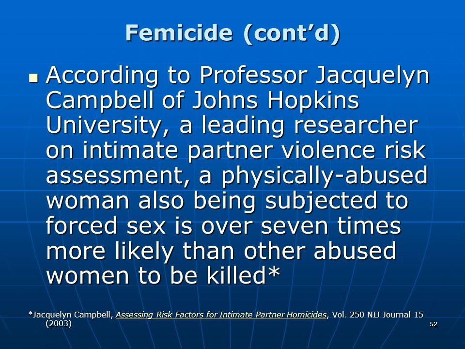 Femicide (cont'd)