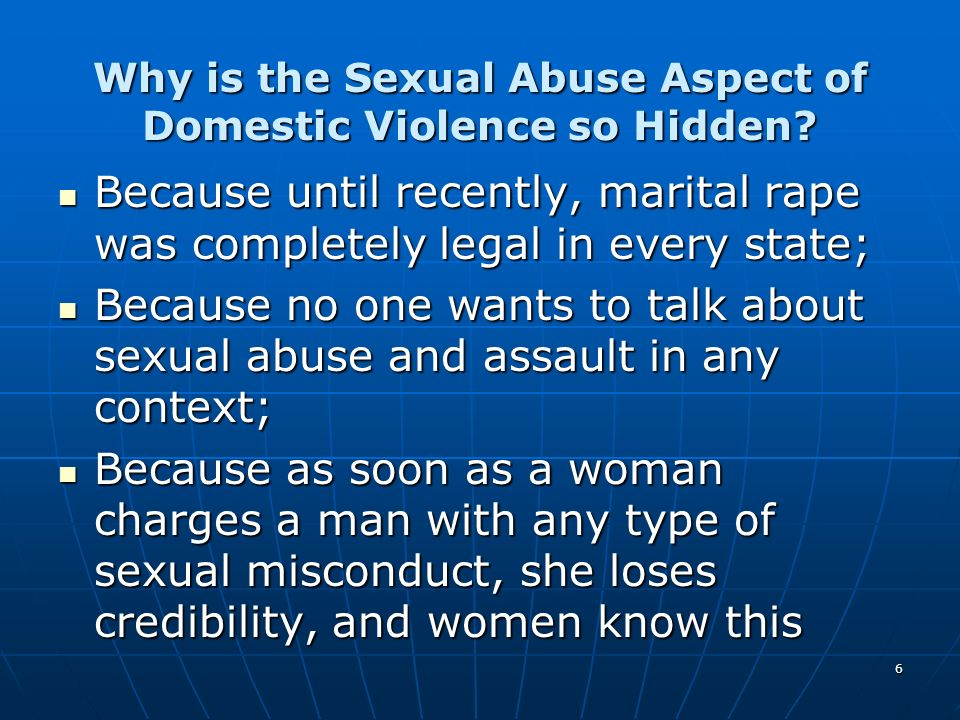 Why is the Sexual Abuse Aspect of Domestic Violence so Hidden
