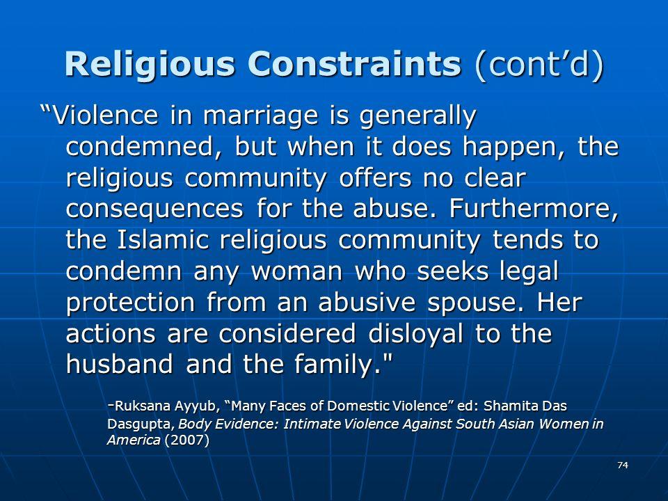 Religious Constraints (cont'd)