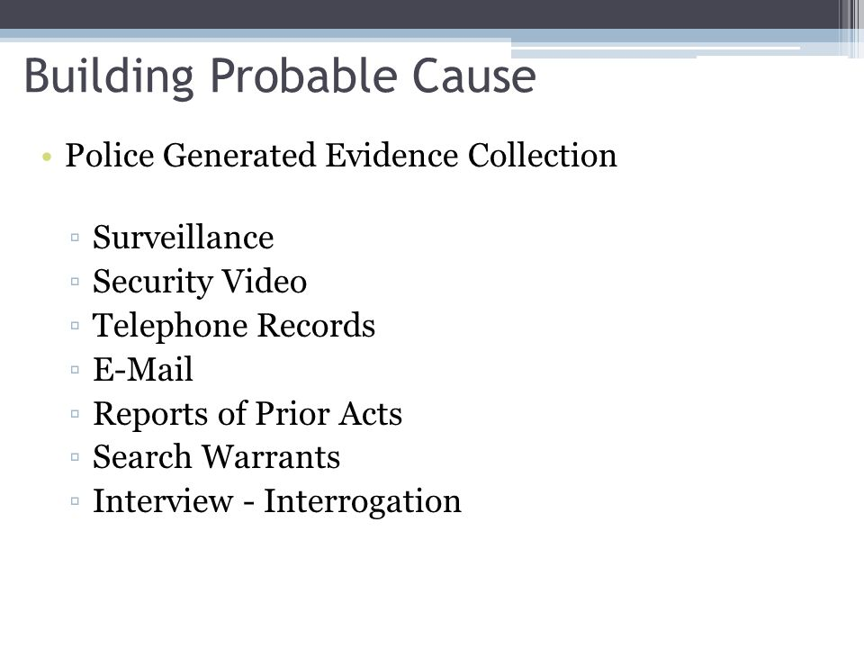 Building Probable Cause