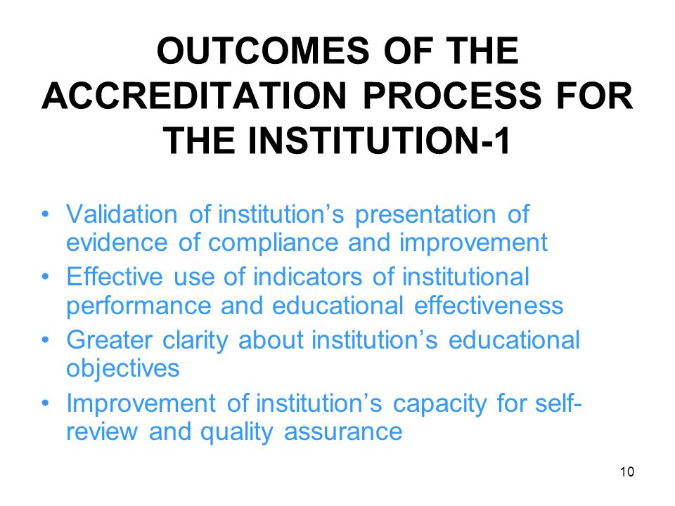 OUTCOMES OF THE ACCREDITATION PROCESS FOR THE INSTITUTION-1