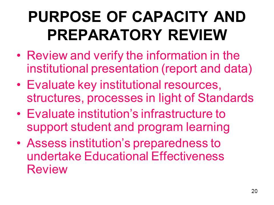 PURPOSE OF CAPACITY AND PREPARATORY REVIEW