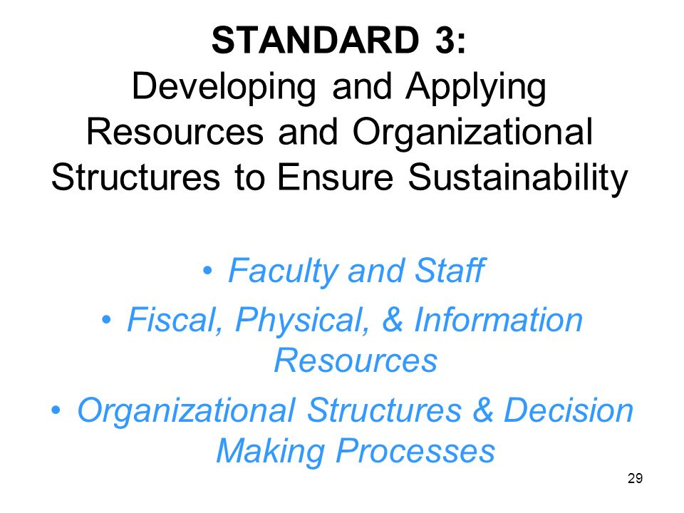 STANDARD 3: Developing and Applying Resources and Organizational Structures to Ensure Sustainability