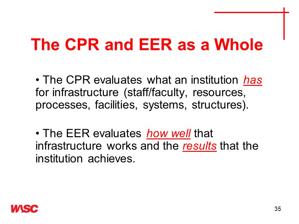 The CPR and EER as a Whole