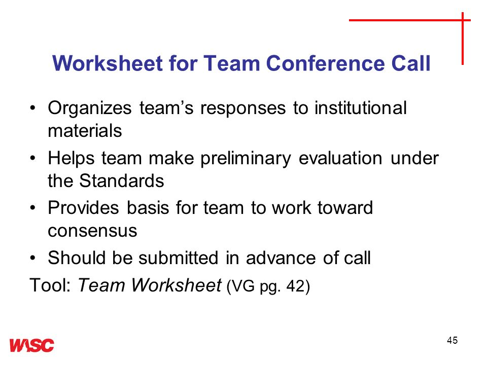 Worksheet for Team Conference Call