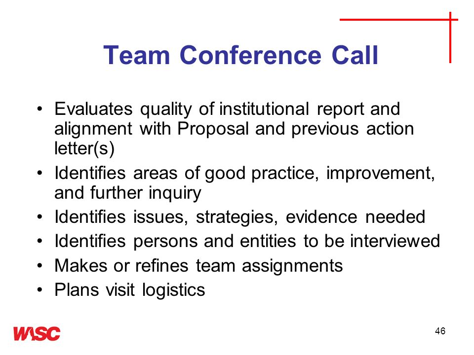 Team Conference Call Evaluates quality of institutional report and alignment with Proposal and previous action letter(s)