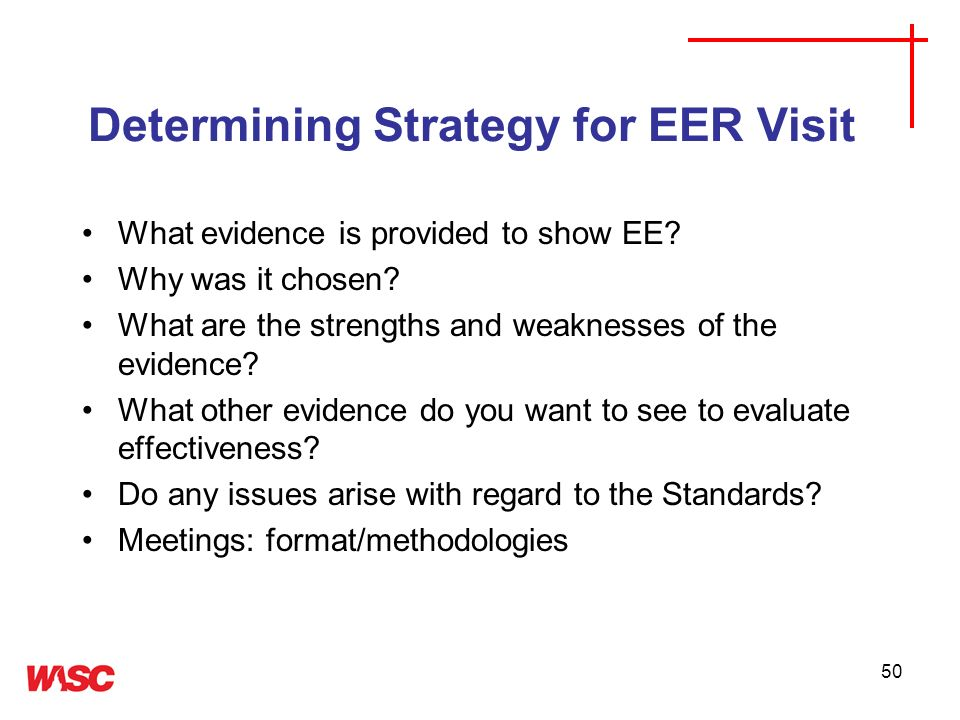Determining Strategy for EER Visit