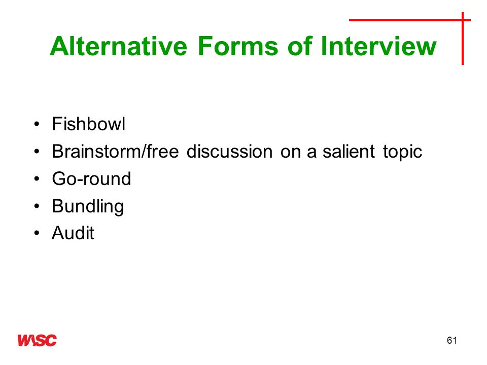 Alternative Forms of Interview