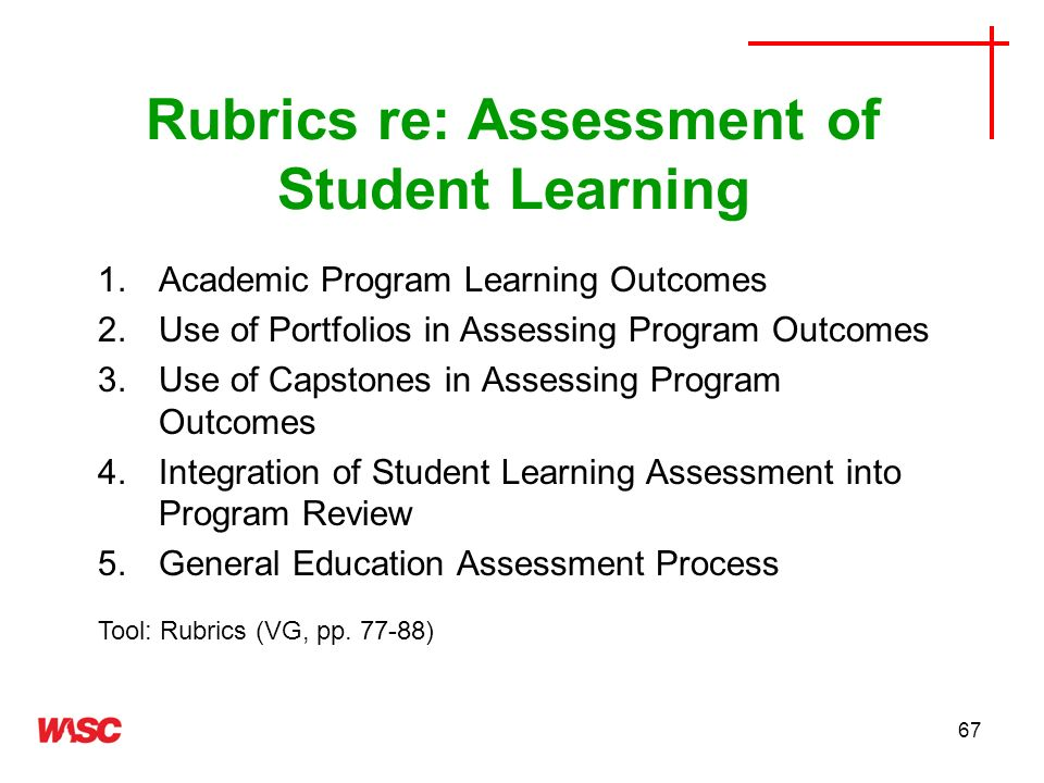 Rubrics re: Assessment of Student Learning