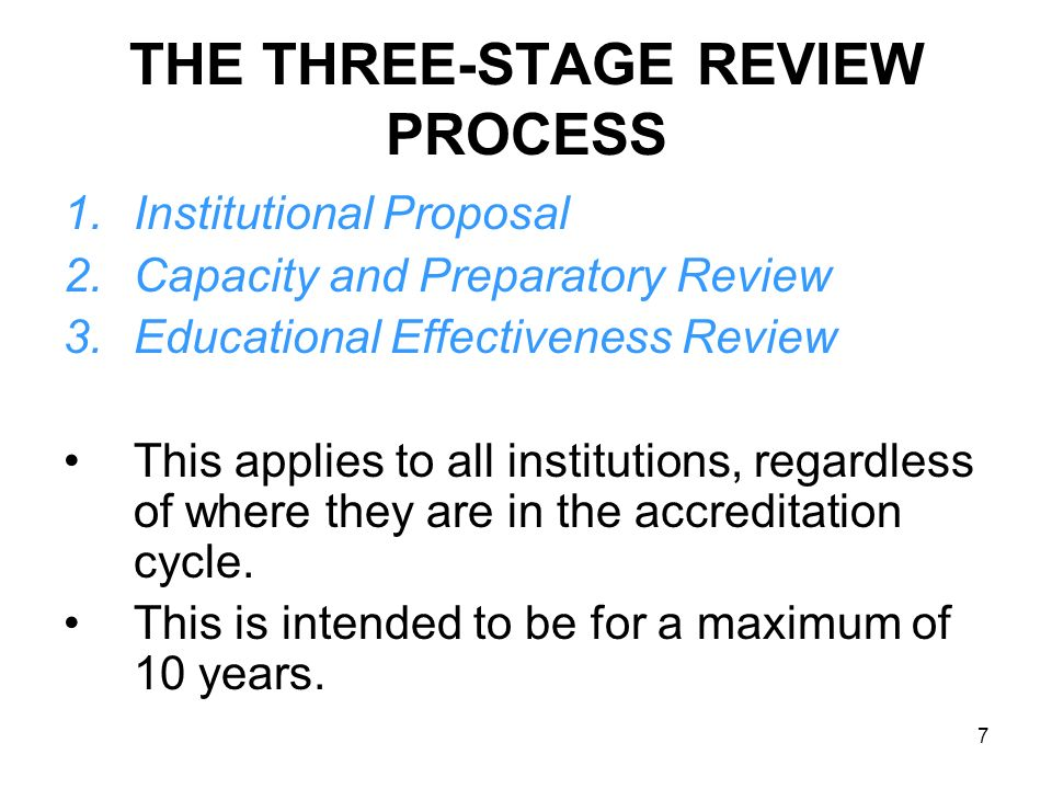 THE THREE-STAGE REVIEW PROCESS