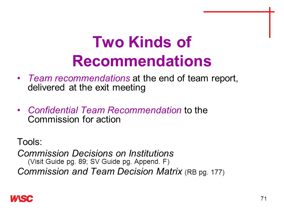 Two Kinds of Recommendations