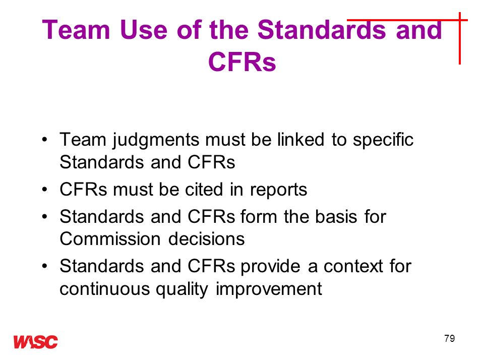 Team Use of the Standards and CFRs