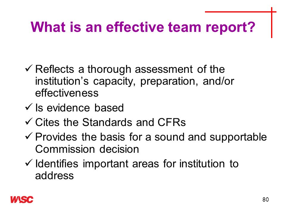 What is an effective team report