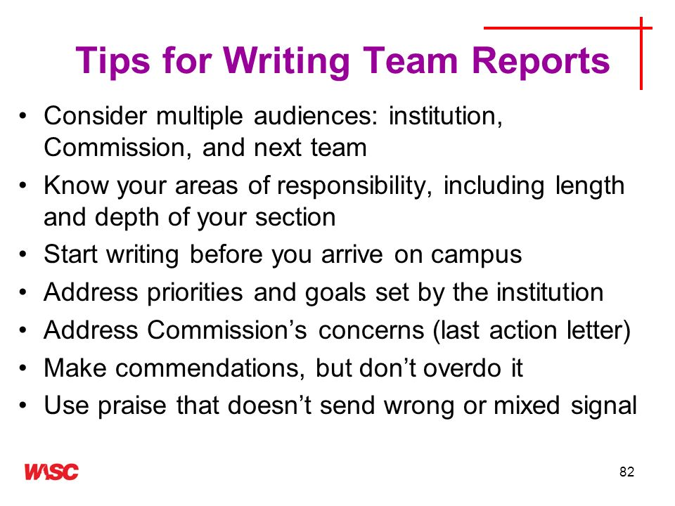 Tips for Writing Team Reports