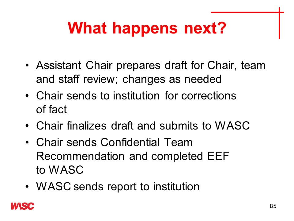 What happens next Assistant Chair prepares draft for Chair, team and staff review; changes as needed.