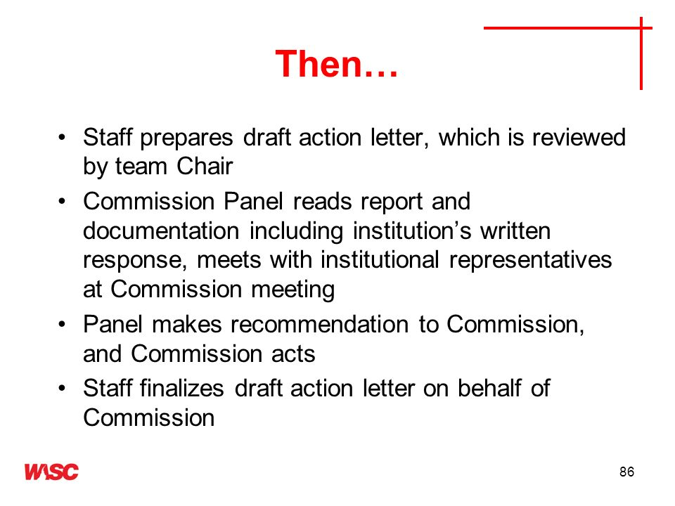 Then…Staff prepares draft action letter, which is reviewed by team Chair.