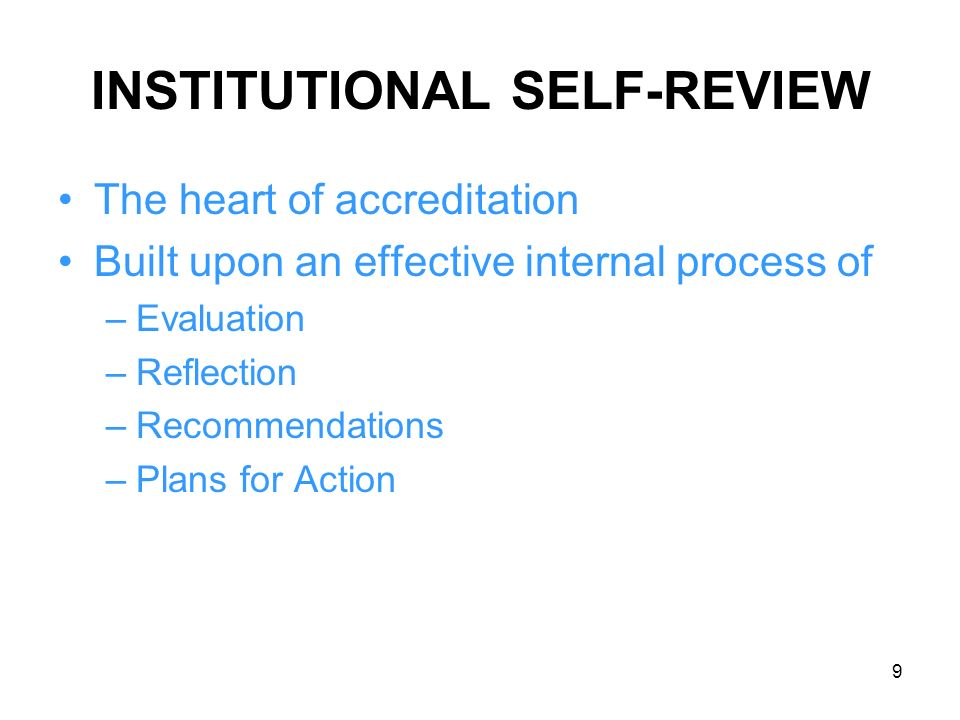 INSTITUTIONAL SELF-REVIEW