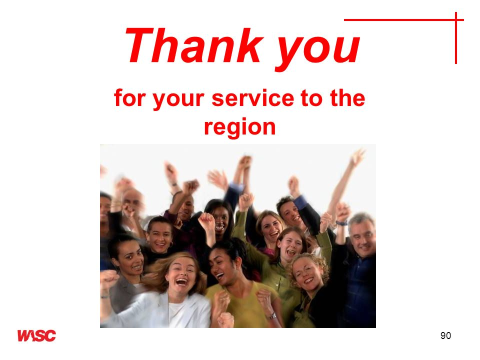 for your service to the region