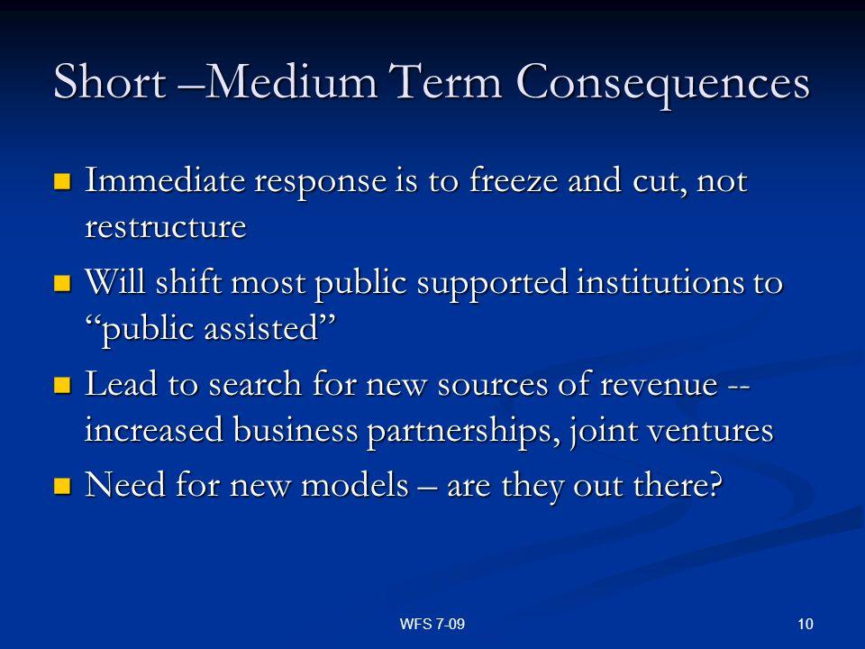 Short –Medium Term Consequences