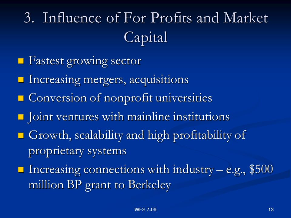3. Influence of For Profits and Market Capital