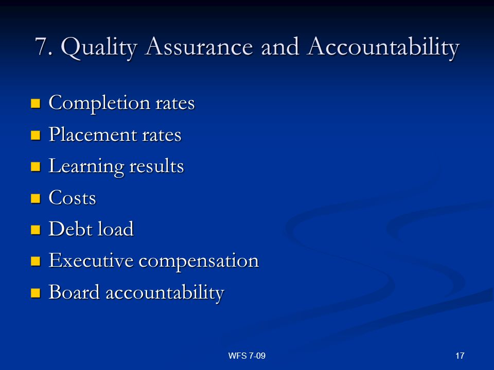 7. Quality Assurance and Accountability
