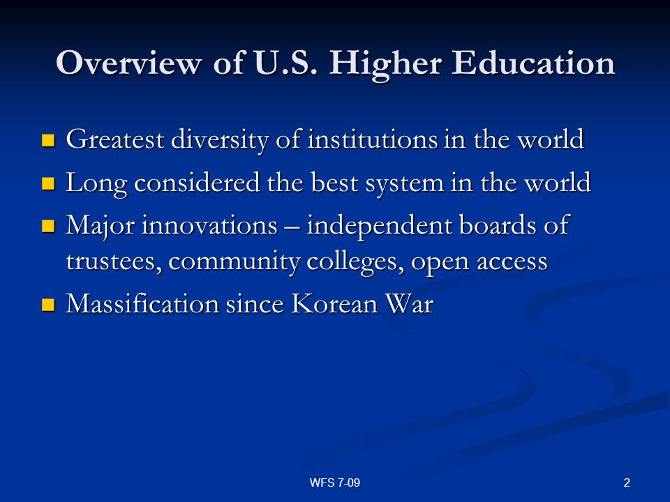 Overview of U.S. Higher Education