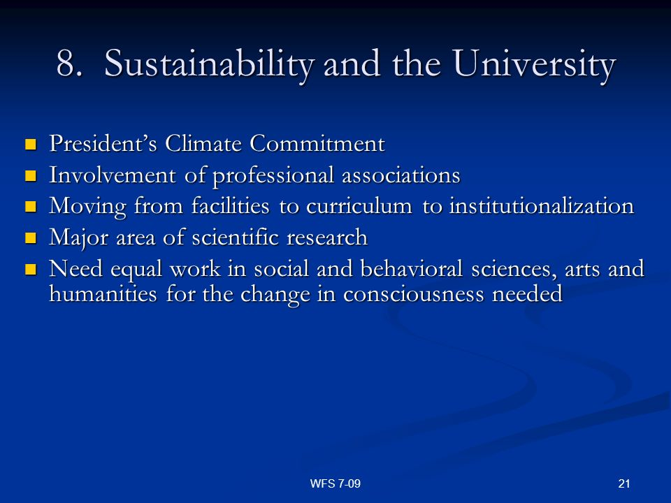 8. Sustainability and the University