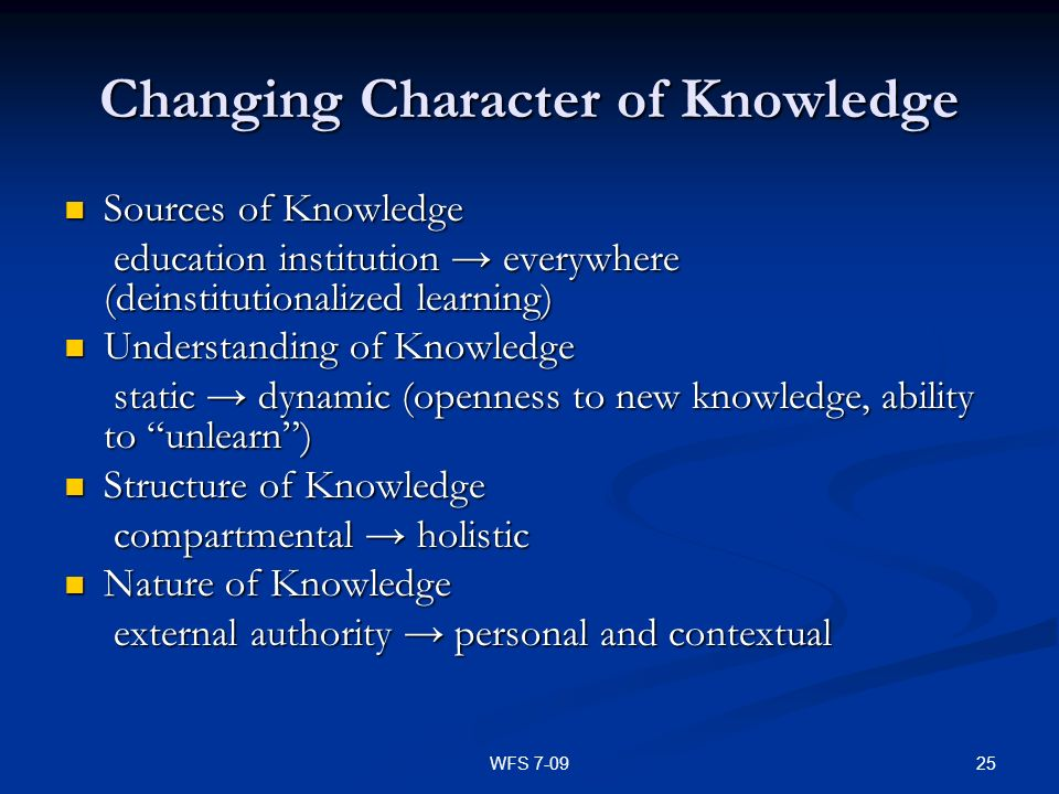 Changing Character of Knowledge