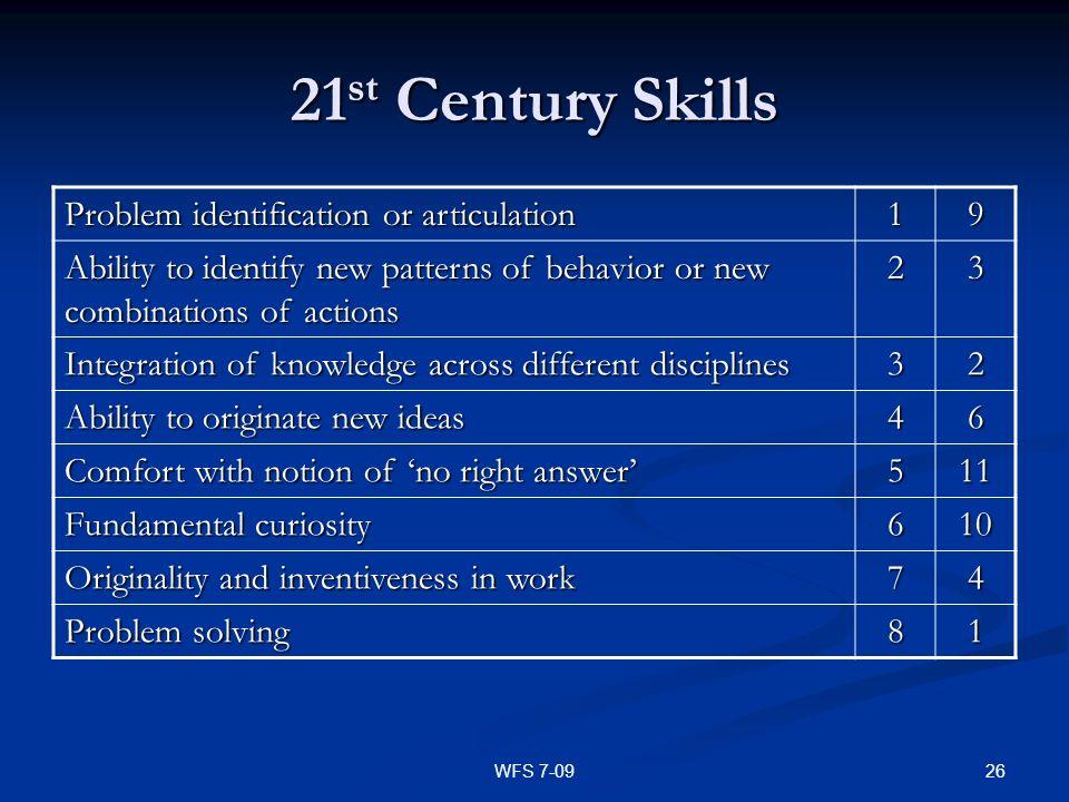 21st Century Skills Problem identification or articulation 1 9