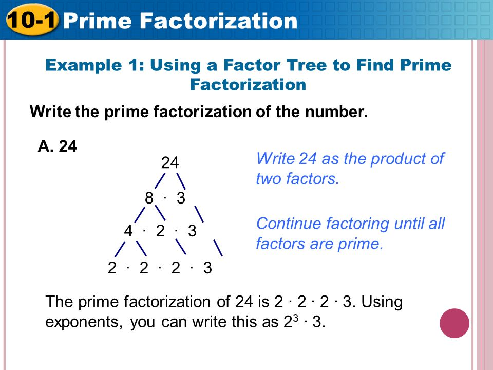 write 24 as a product of prime factors Prime factorization and division given numbers are written as the product of prime factors 2 is the least number which will divide 24 step 2: write the.