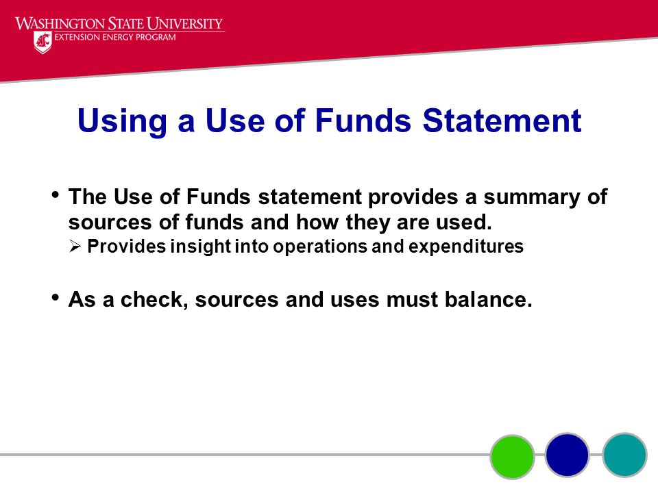 Using a Use of Funds Statement