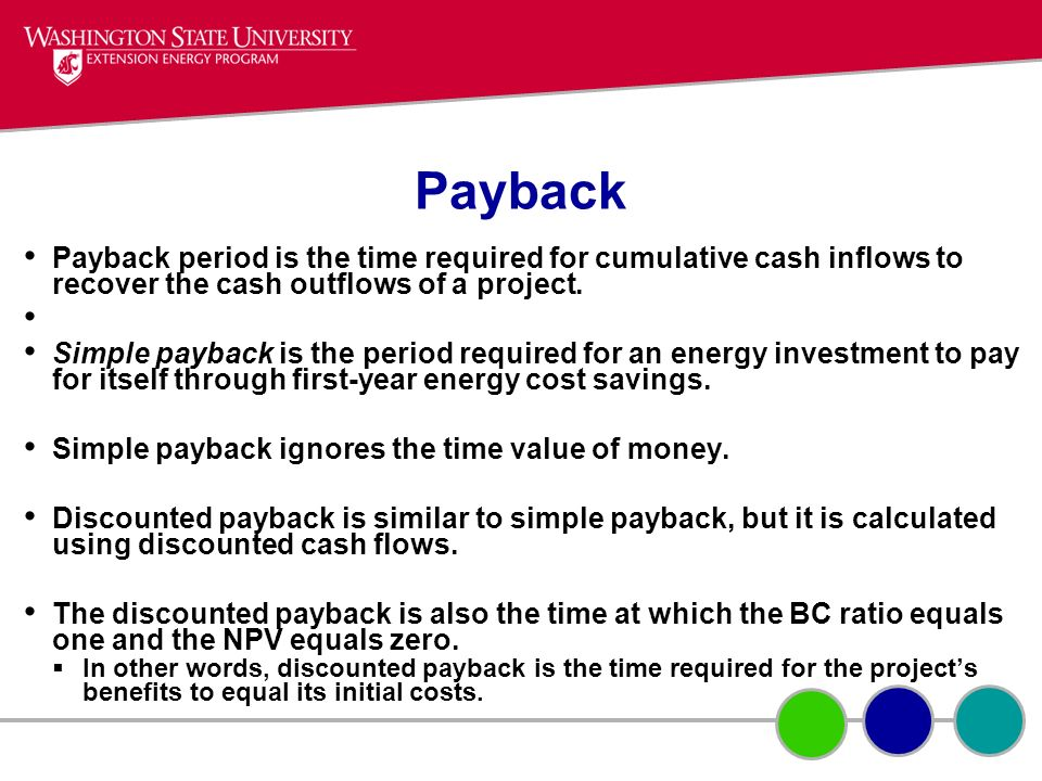 Payback Payback period is the time required for cumulative cash inflows to recover the cash outflows of a project.